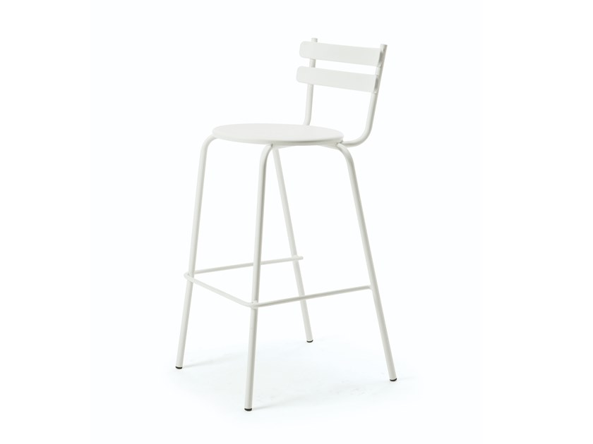 High metal garden stool with back GRACE   High stool by Vermobil