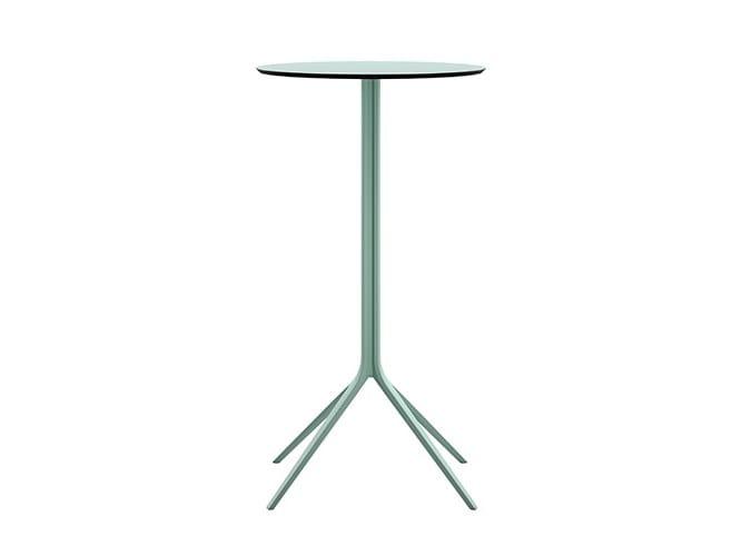 Tavolo alto in acciaio con piano rotondo in HPL MOMO | Tavolo alto by Albaplus