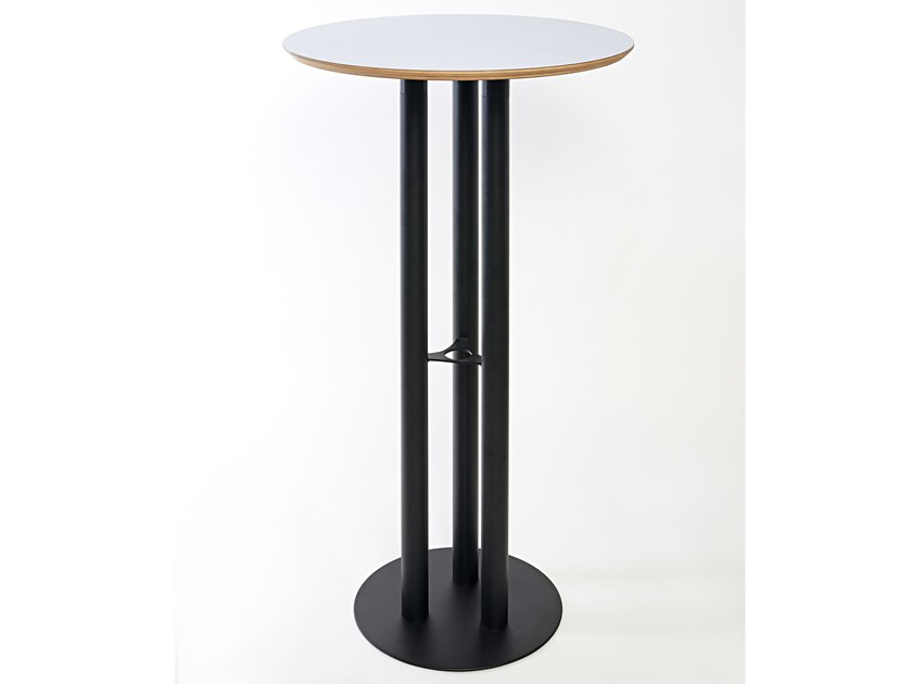 Round steel and wood high table CHAILLOT | High table by Specimen Editions