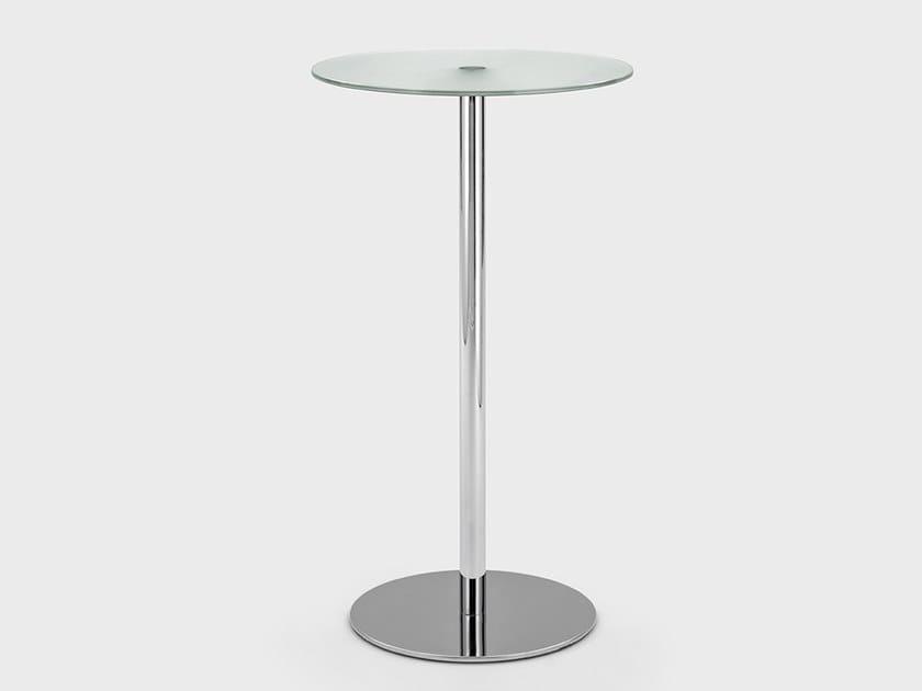 Tavolo alto rotondo in metallo e vetro APOLLO | Tavolo alto by Viganò