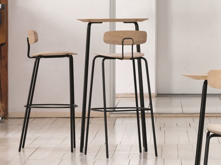 Square steel and wood high table OKITO | High table by ZEITRAUM