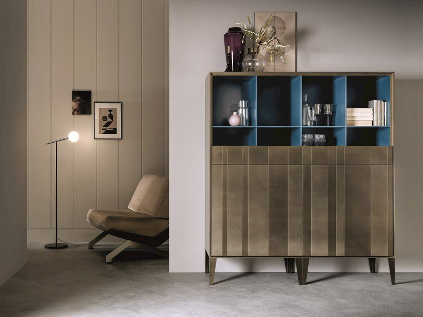 Highboard with doors ATENEO | Brass highboard by Capo d'Opera