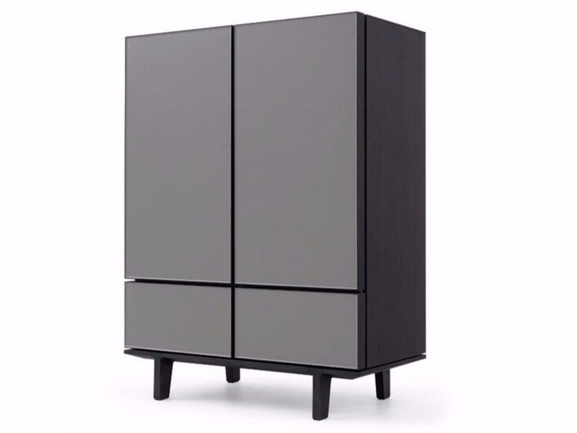 Lacquered wooden highboard PANDORA DUE | Highboard by poliform