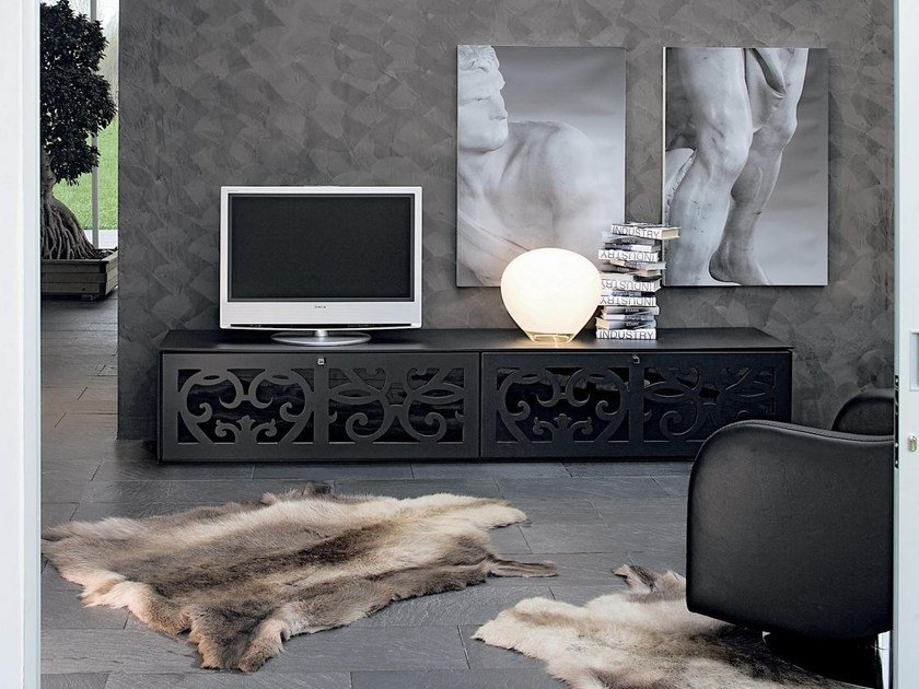 Low wood and glass TV cabinet PARIS | TV cabinet by Tonin Casa