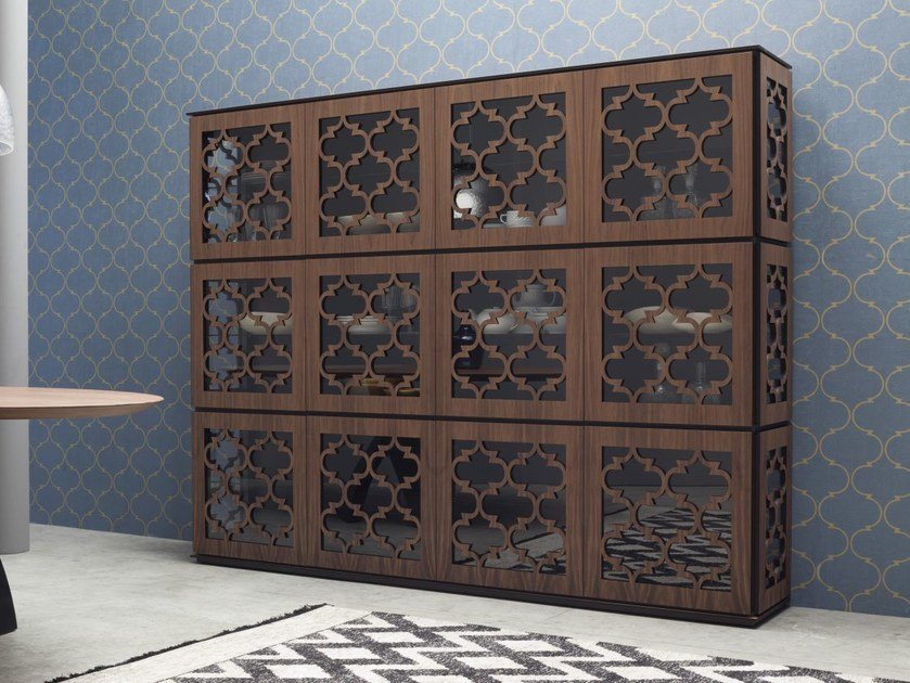 Wood and glass highboard MARRAKESH | Highboard by Tonin Casa