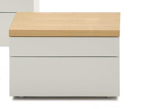 Comodino in legno con cassetti HIRO | Comodino quadrato by Silenia