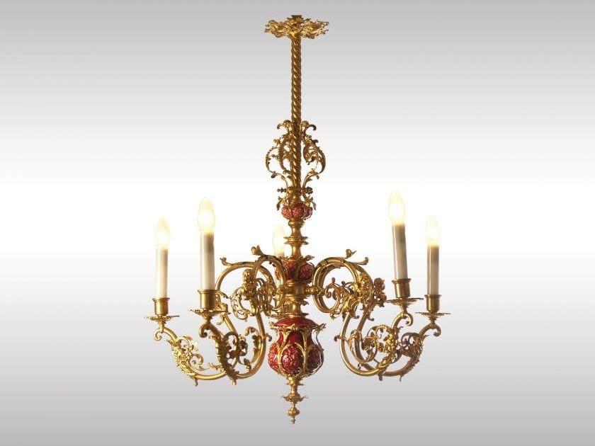 Classic style ceramic chandelier HISTORISTISCHER BRONZELUSTER MIT KERAMIK by Woka Lamps Vienna