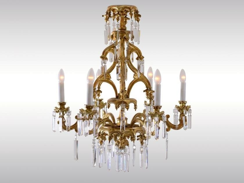 Classic style gold leaf chandelier HISTORISTISCHER LUSTER LAXENBURGER GOTIK by Woka Lamps Vienna