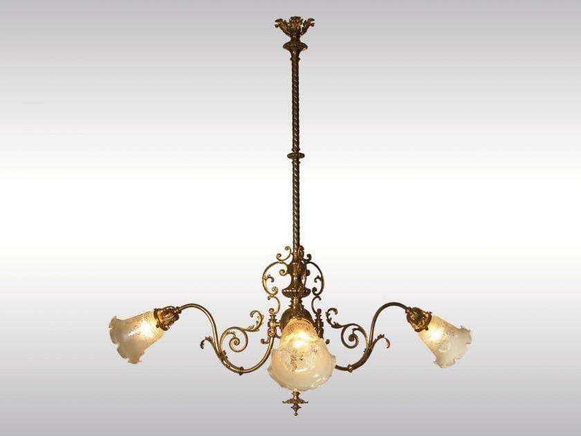 Classic style brass chandelier HISTORISTISCHER LUSTER by Woka Lamps Vienna