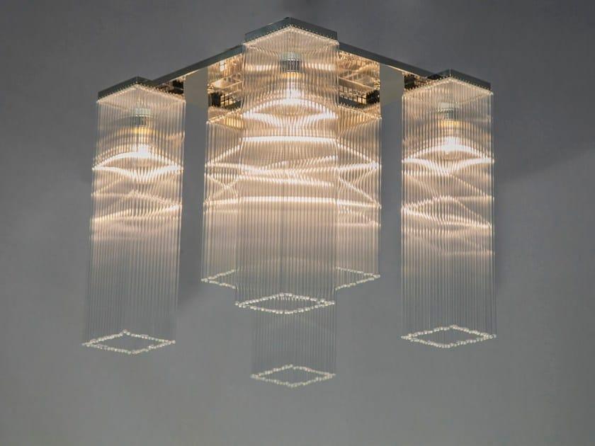 Lampada da soffitto a luce diretta fatta a mano in nichel HOFFMANN II   Lampada da soffitto by Patinas Lighting