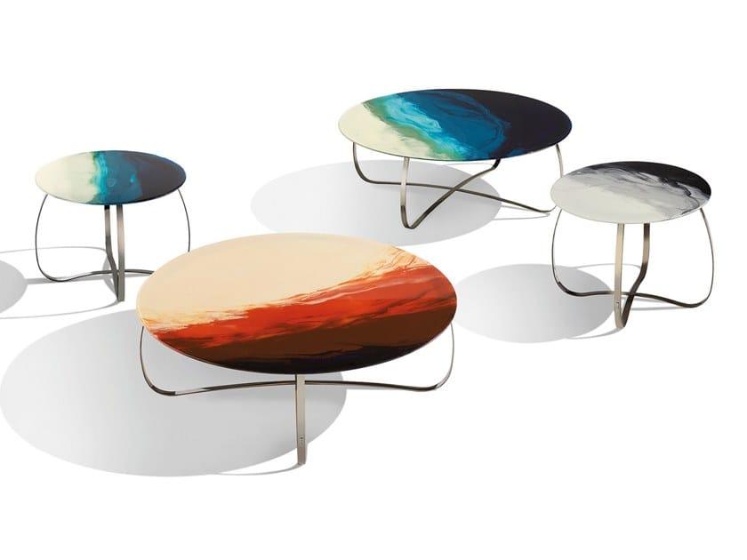 Tavolino rotondo con piano in resina su vetro HOLLY ART GLASS by MissoniHome