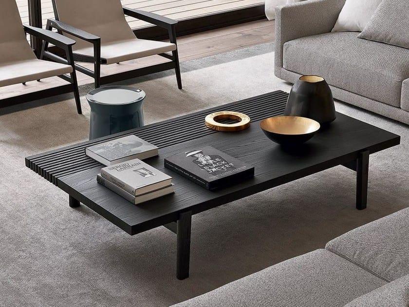 Low Rectangular Wood Veneer Coffee Table Home Hotel By Poliform