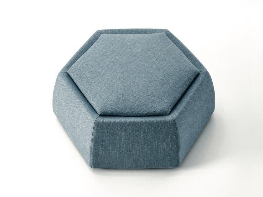Hexagonal upholstered fabric pouf HONEY by Saba Italia
