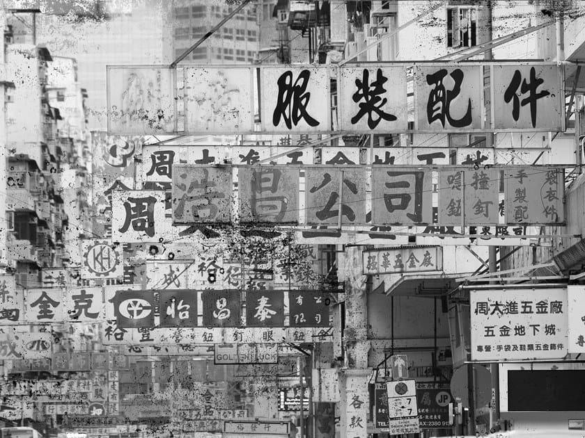 Rubber landscape glass-fibre wallpaper HONG KONG by Tecnografica Italian Wallcoverings