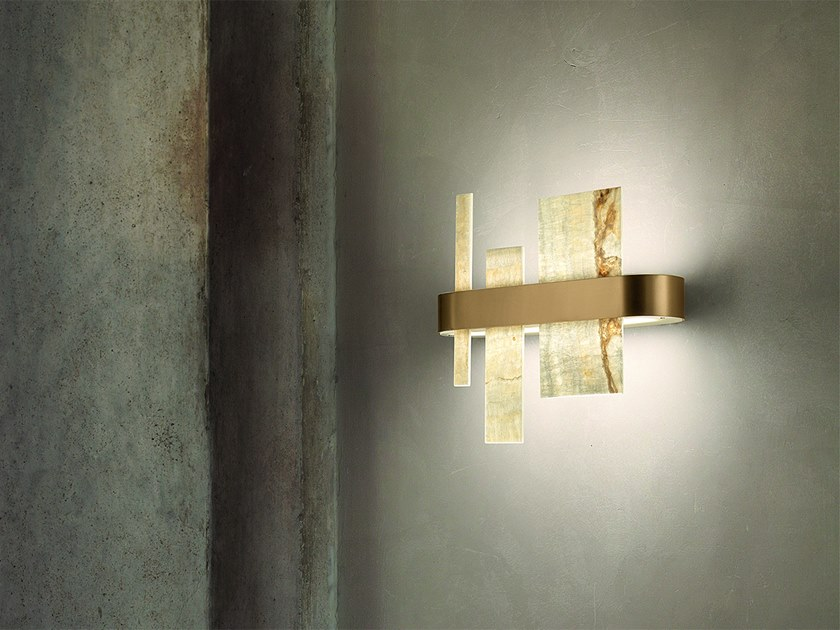 LED wall lamp in metal and onyx HONICÉ A37 by Masiero