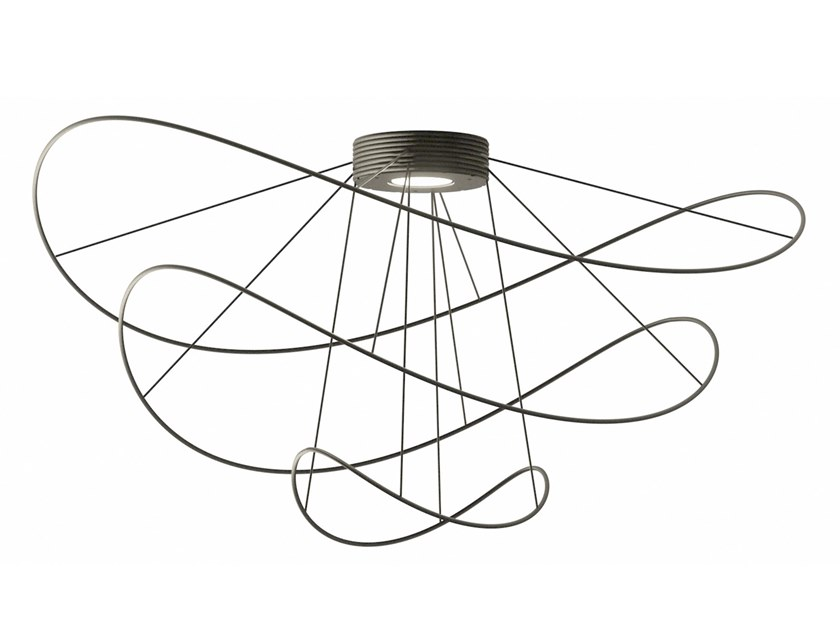 LED direct-indirect light ceiling lamp with dimmer HOOPS BLACK - PLHOOPS3 by AXOLIGHT