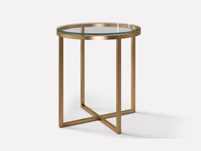 Round copper and glass side table HOPE | Coffee table for living room by MORADA