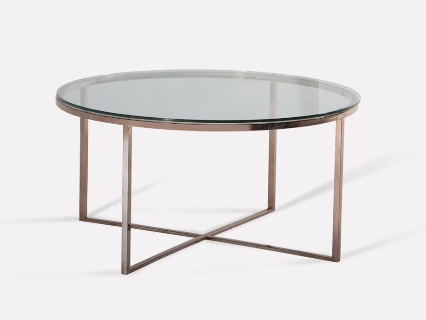 Round copper and glass coffee table HOPE | Coffee table by MORADA