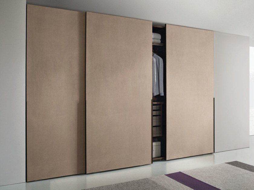 Imitation leather wardrobe with sliding doors HOPUS | Wardrobe with sliding doors by JESSE