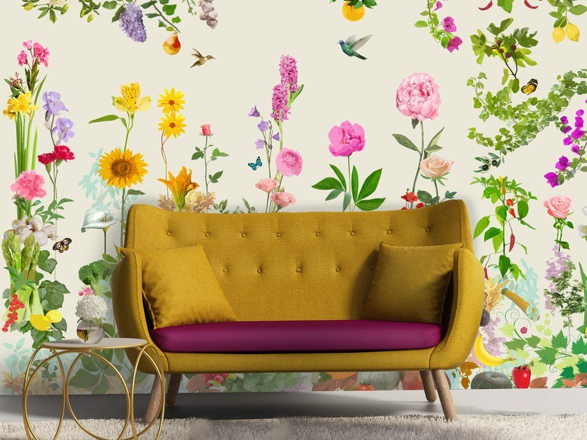 Adhesive panoramic wallpaper with floral pattern HORTUS by MYFRESKO