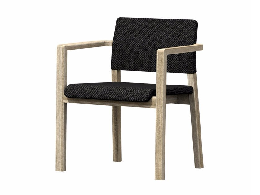 Upholstered fabric chair with armrests HOST + A by Z-Editions