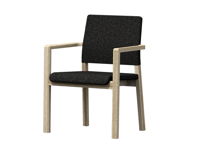 Upholstered fabric chair with armrests HOST HB + A by Z-Editions