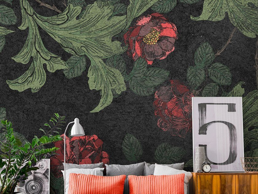 Waterproof nonwoven wallpaper with floral pattern HOWARD by Tecnografica Italian Wallcoverings
