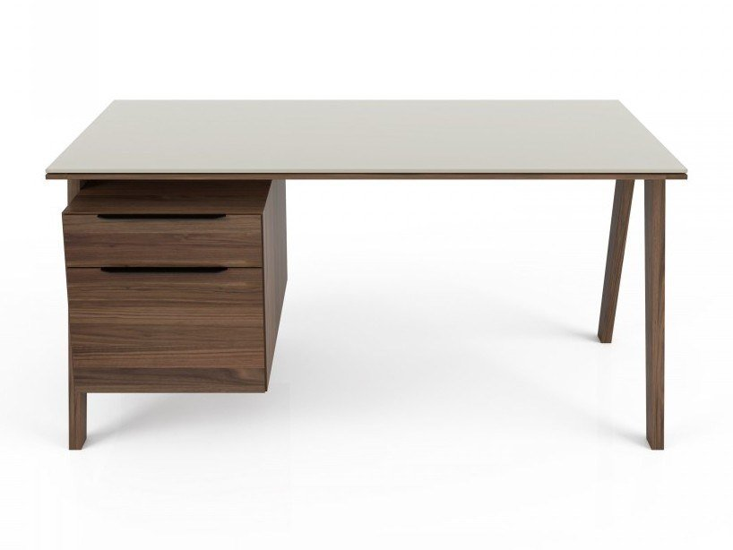 Rectangular writing desk with drawers and glass top HOWARD | Writing desk with drawers by Huppé