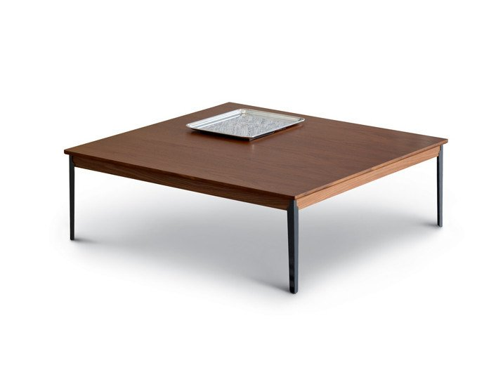 Low square solid wood coffee table HUG | Coffee table by arflex