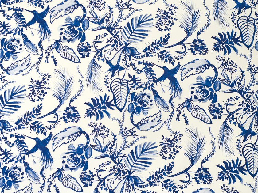 Printed satin fabric HUMMINGBIRD by Aldeco