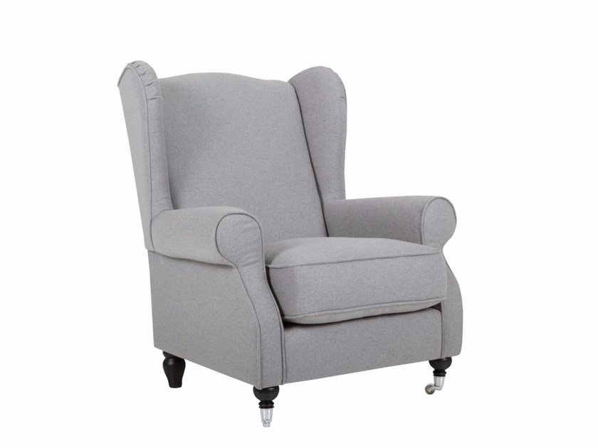 Fabric wingchair with casters HUMPHREY by SITS