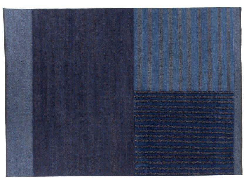 Handmade rectangular rug HUNUA BLU by Golran
