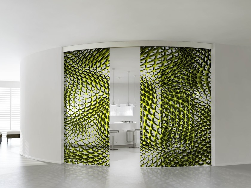 Crystal movable wall HYBRID TRIANGLES LIME by Casali