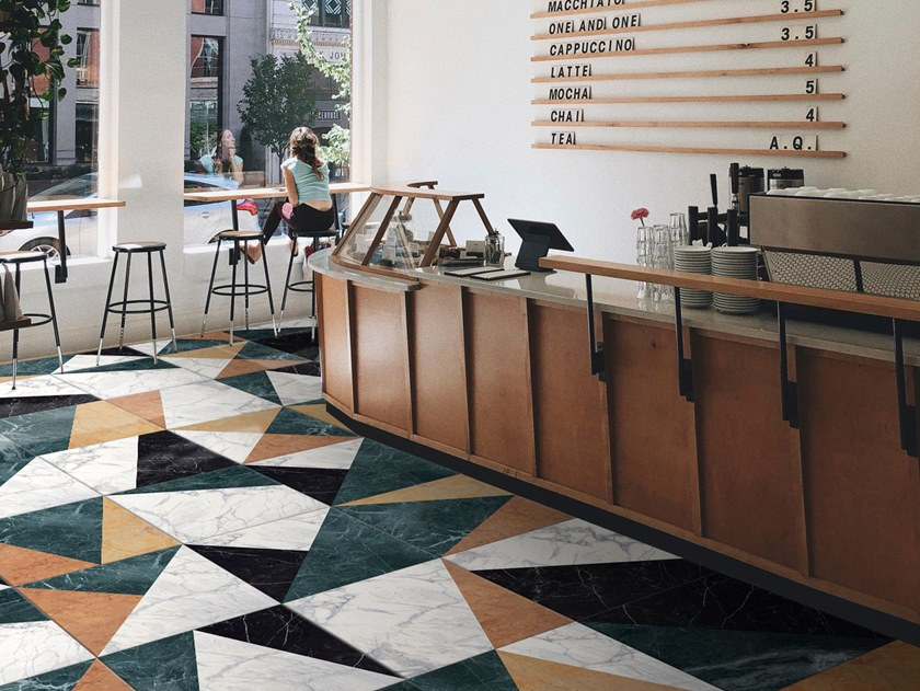 Glazed porcelain stoneware wall/floor tiles with marble effect I'M by ORNAMENTA