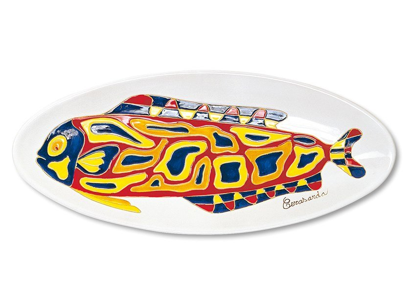 Oval ceramic tray I PESCI by Cerasarda