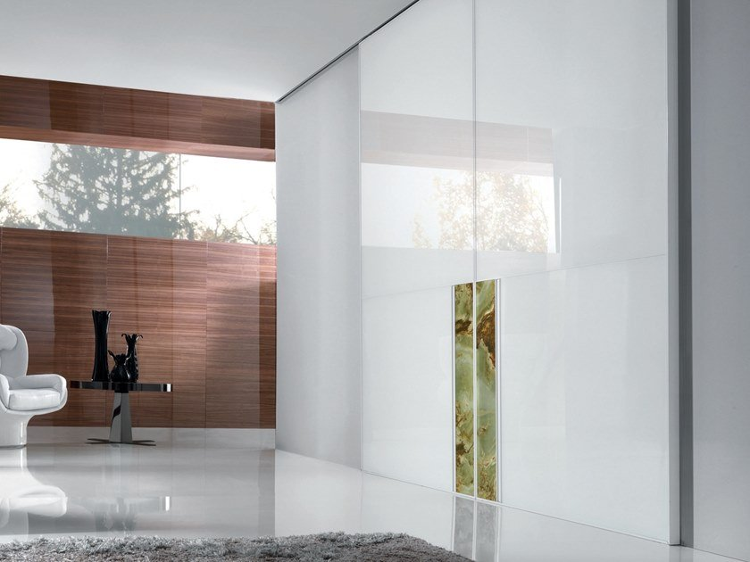 Lacquered tempered glass sliding door IANUS | Lacquered door by Longhi