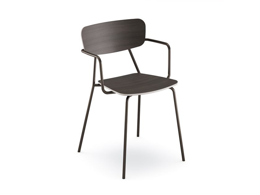 Stackable wooden chair IBETTA by SCULPTURES JEUX
