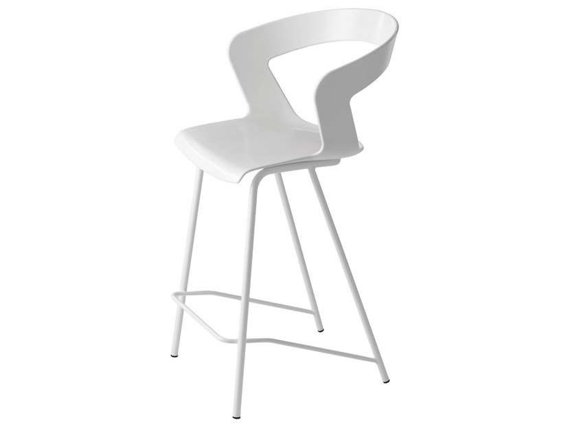 Technopolymer stool with back IBIS 302B by Metalmobil