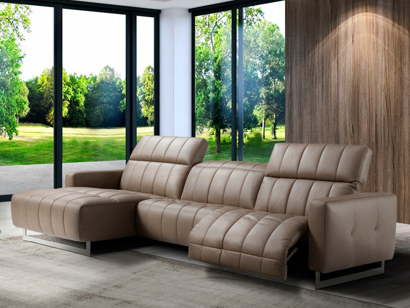 Recliner 3 seater leather sofa IBIS by Max Divani