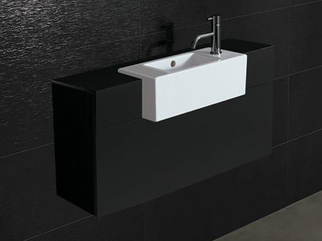 Semi-inset ceramic washbasin ICE 52X26 by Alice Ceramica