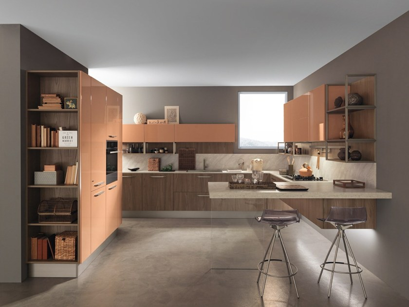 Lacquered laminate kitchen with peninsula ICE | Kitchen with peninsula by Febal Casa