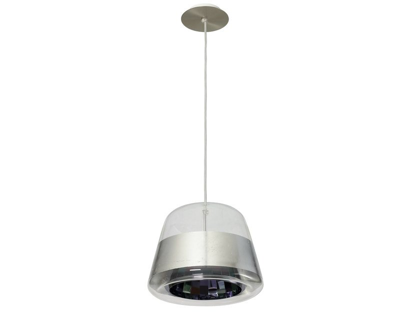 LED glass pendant lamp ICE REFLECTOR SILVER by Hind Rabii