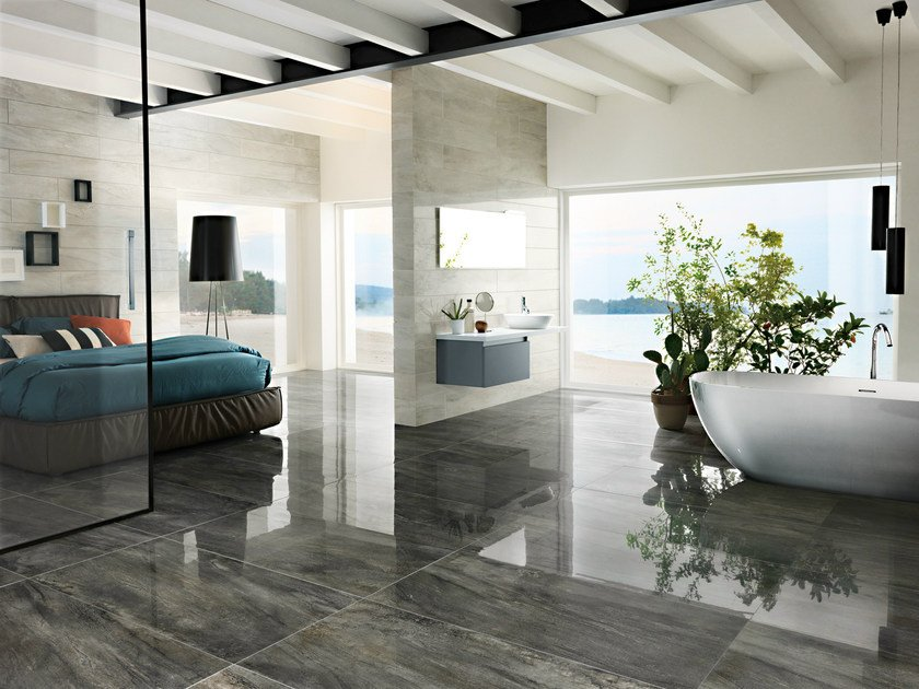 Porcelain stoneware flooring with metal effect ICON CHARCOAL by La Fabbrica