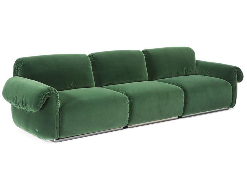 Velvet sofa ICON | 3 seater sofa by Natuzzi