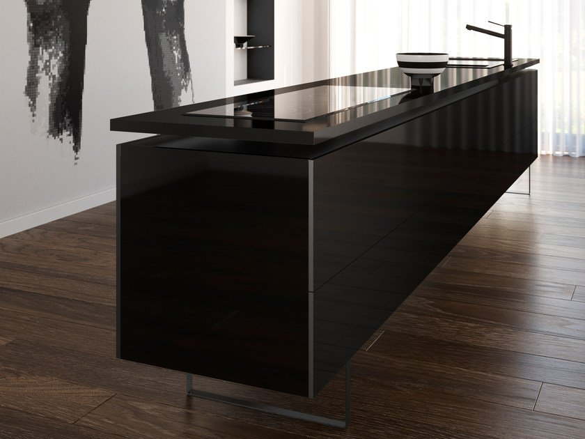 top cucina in silestone iconic black by cosentino. Black Bedroom Furniture Sets. Home Design Ideas