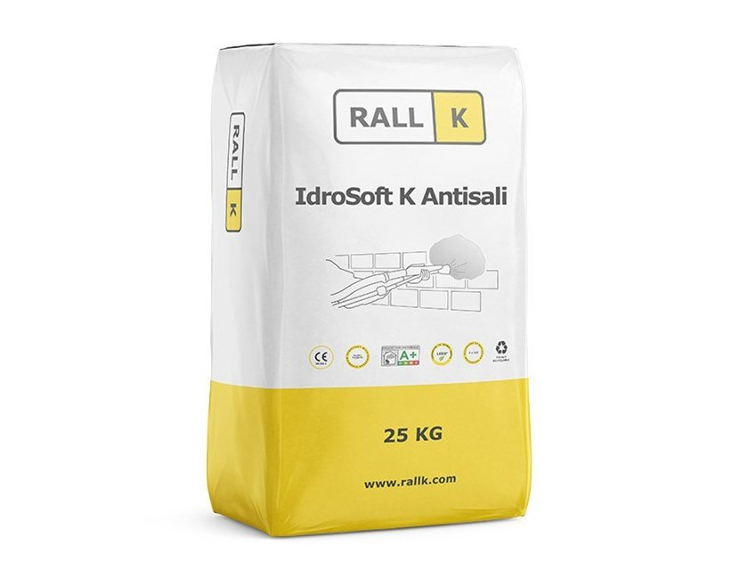 Renovating and de-humidifying additive and plaster IDROSOFT K ANTISALI by RALLK
