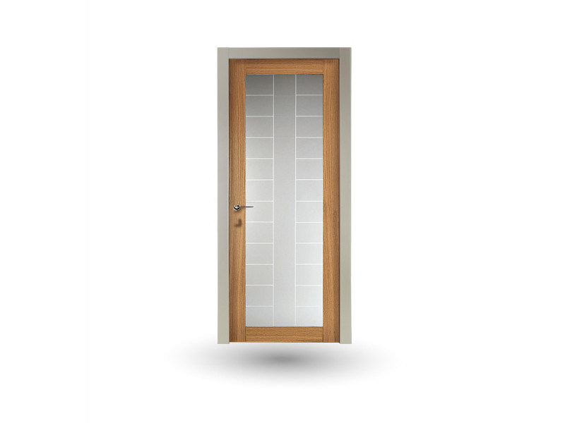 Hinged wood and glass door IKI 30G V1 ROVERE MIELE by GD DORIGO