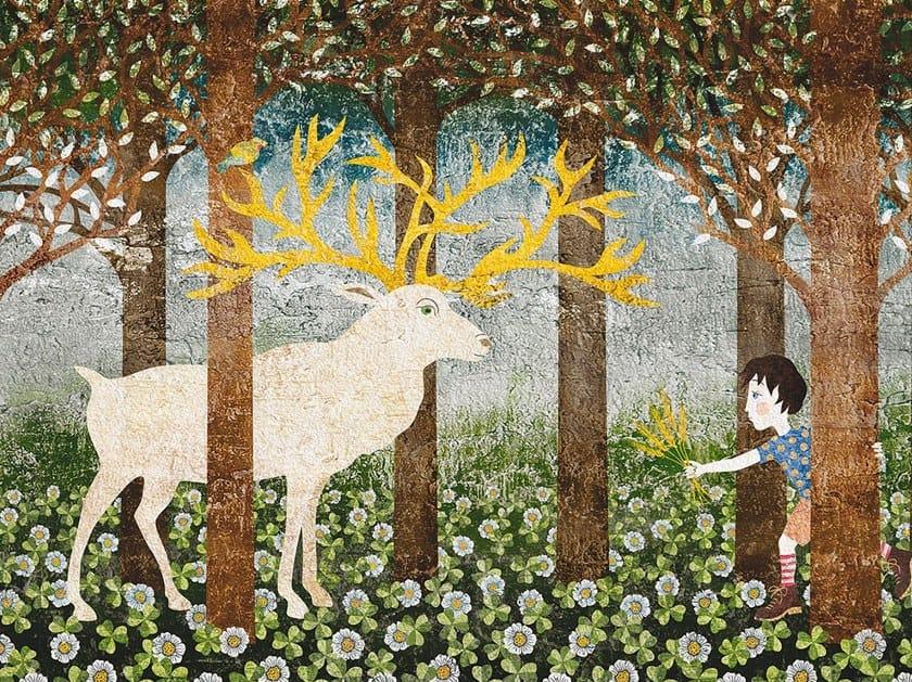 Rubber waterproof kids wallpaper IL CERVO E IL BAMBINO by Tecnografica Italian Wallcoverings