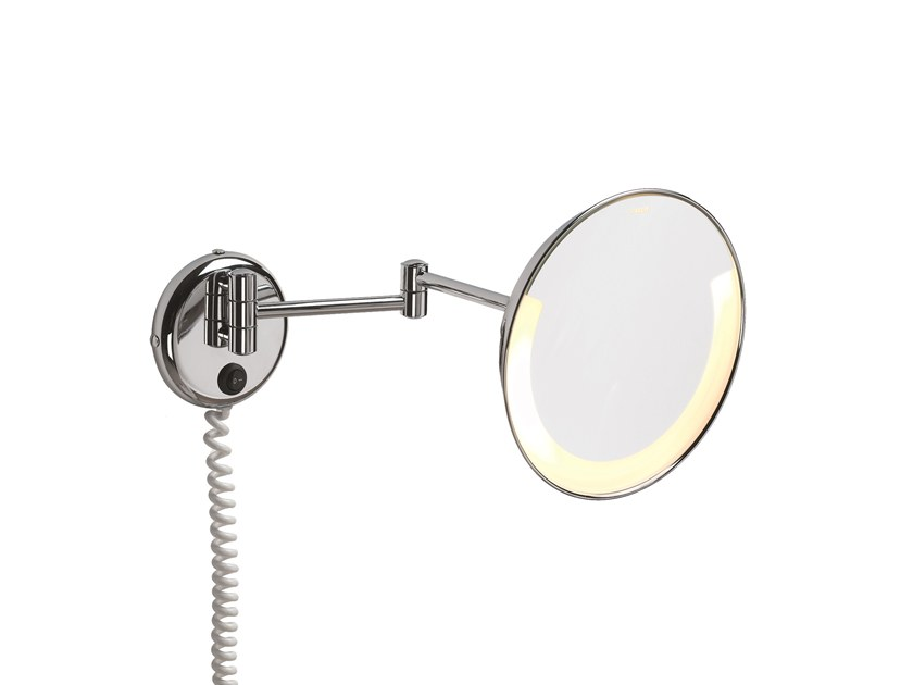 Round wall-mounted shaving mirror with integrated lighting ILLUSION 908250002 | Shaving mirror by pomd'or
