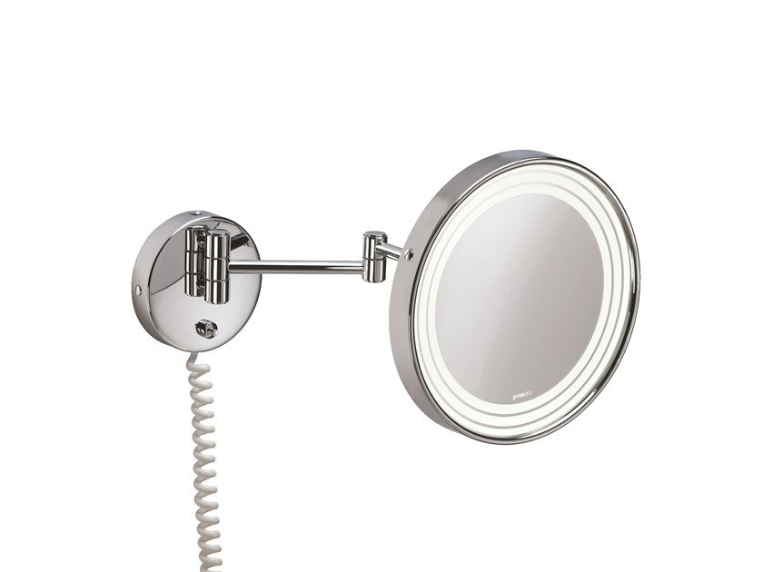 Round wall-mounted shaving mirror with integrated lighting ILLUSION 908251002 | Shaving mirror by pomd'or